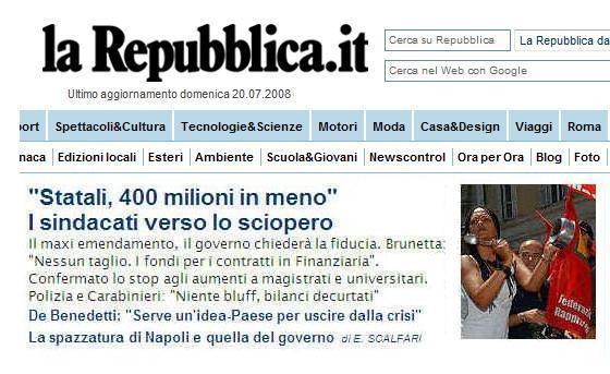 Al direttore di la repubblica dr ezio mauro for Repubblica homepage it